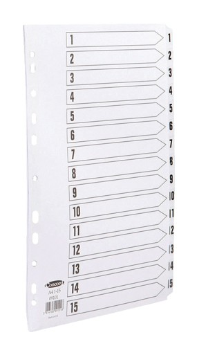 Concord Commercial Index Mylar-reinforced Europunched 1-15 Clear Tabs A4 White Ref 09101