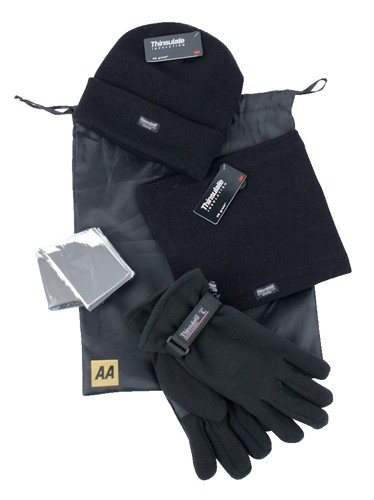 AA Winter Warmer Kit of Hat/Gloves/Neck-Warmer and Foil Blanket Code 5060114613140