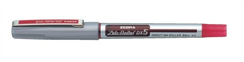 Zebra DX5 Rollerball Liquid Ink Pen Fine Needle Point Red Pack 10 Code 16073