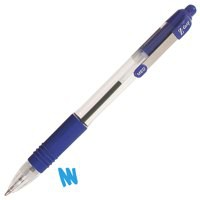 Zebra Z-Grip Retractable Ball Pen Metal Clip Medium Blue Ref 22220 [Pack 12]