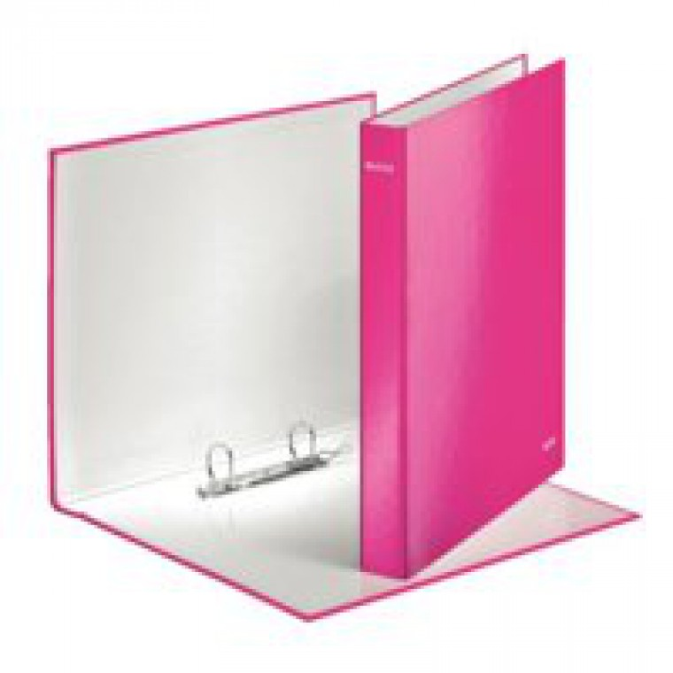 Leitz WOW Ring Binder A4 Maxi 2 D-Ring Size 25mm for 250 Sheets Pink Metallic