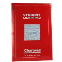 Image for Chartwell Student Graph Pad 70gsm 2mm 10mm 20mm Grid 50 Sheets A4 Red Cover Ref J34BZ [Pack 10]