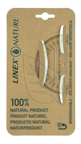 Linex Nature Protractor 180 Degree Biodegradable with Reverse Graduation Clear Ref LXON910