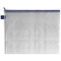 INDX Zip Pouch Reinforced Mesh Weave PVC Clear with Coloured Seal 345x15x260mm A4 Blue