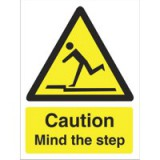 Stewart Superior Caution Mind The Step Sign Self Adhesive Vinyl 150x200mm Code WO131SAV