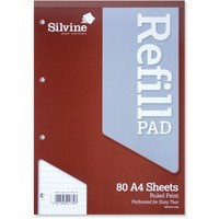 Image for Silvine Refill Pad Headbound Perforated Punched Ruled 75gsm A4 Ref A4RPF [Pack 6]