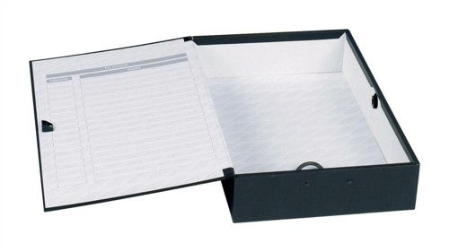 Concord Classic Box File Paper-Lock Finger-Pull And Catch 75mm Spine Foolscap Black Code C1282