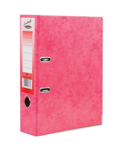 Concord Contrast Lever Arch File Laminated 5-Part Dividers 70mm Spine A4 Raspberry Code 214708