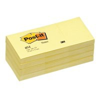 Image for Post-it Recycled Notes Pad of 100 38x51mm Canary Yellow Ref 653-1YE [Pack 12]