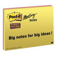 3M Post-it SuperSticky Meeting Notes 6x4 Bright Colours Code 6445-SSP