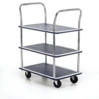Image for Barton Trolley Steel Frame Non-marking Wheels Capacity 120kg 3- Shelf W470xD725xH950mm Chrome Ref PST3