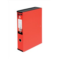Image for 5 Star Box File Lock Spring with Ring Pull and Catch 75mm Spine Foolscap Red