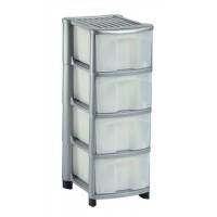 Image for Strata Storage Unit Mobile 4 Drawer W320xD410xH810mm Silver Ref HW434SVR