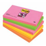 Post-it Super Sticky Notes 76x127mm Neon Rainbow Ref 655SN [Pack 5]