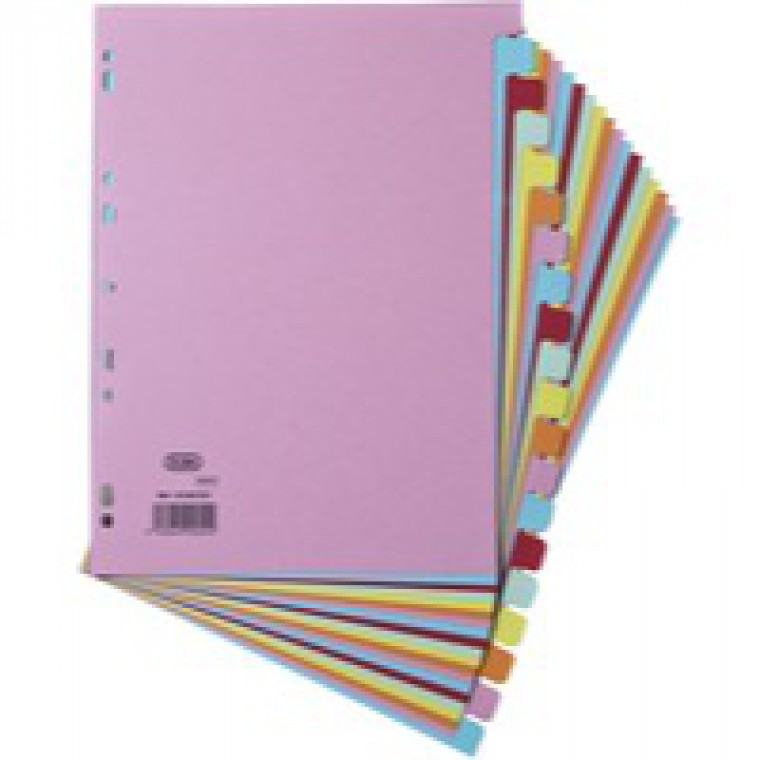 Elba File Dividers 20-Part A4 240gsm Card Assorted