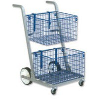 Image for Versapak Major Mail Trolley 2 Large Baskets W555xD735xH940mm Blue and Grey Ref MT2-SIL