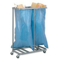 Image for Versapak Sackholder Trolley Double for Mail W790xD400xH1115mm Silver Ref SH2-C