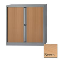 Image for Bisley A4 EuroTambour Including 2 Shelves W1000xD430xH1030mm Beech Shutters Silver Frame Ref ET410/10/2SB