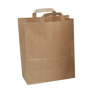 Paper Carrier Bags Flat Handle Brown [Pack 250]