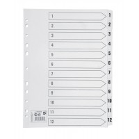 Image for 5 Star Index 230 micron Card with Clear Mylar Tabs 1-12 A4 White