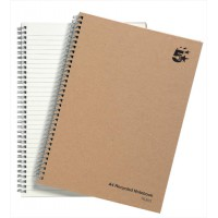Image for 5 Star Notebook Wirebound Hard Cover Recycled 80gsm A4 Manilla [Pack 5]