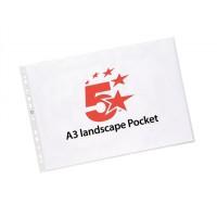 Image for 5 Star Punched Pocket Polypropylene Top-opening 120 micron Landscape A3 Ref 4899L10 [Pack 25]