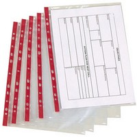 Image for Q-Connect Punched Pocket A4 Deluxe Side-Opening Red Strip Pack of 25