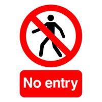 Image for Warning Sign No Entry A5 Self-Adhesive