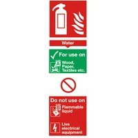 Image for Safety Sign Fire Extinguisher Water 280x90mm Self-Adhesive F200/S