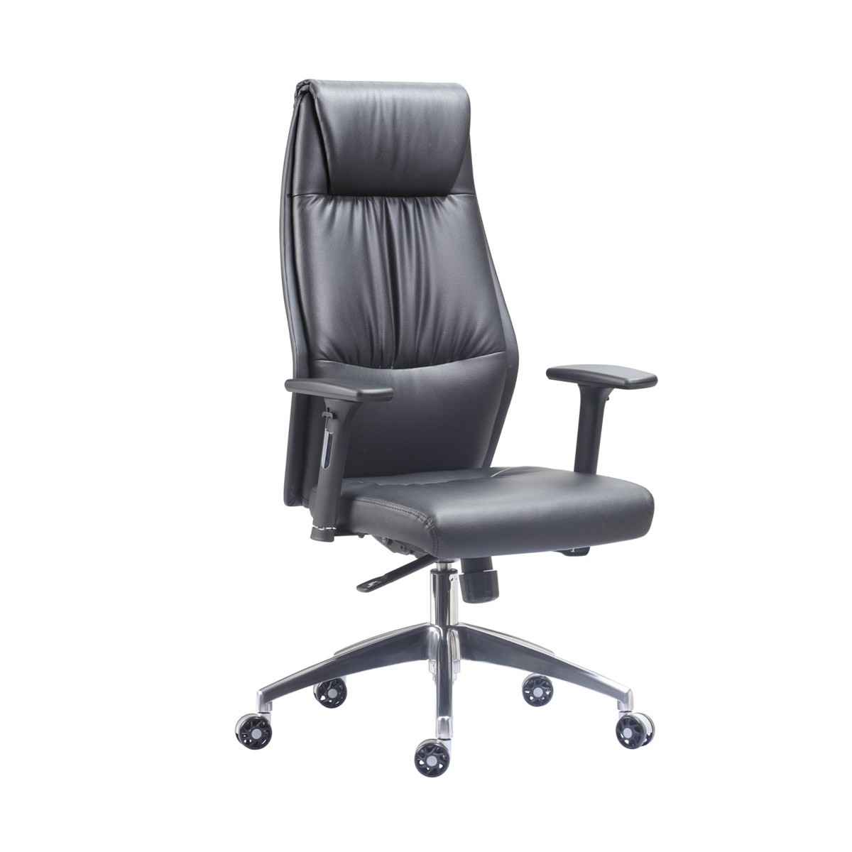 High Back Executive Chair with Height Adjustable Arms Black Faux Leather