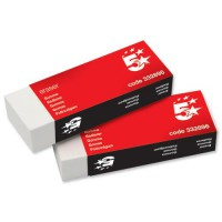 Image for 5 Star Office Plastic Eraser Paper-sleeved 60x21x12mm [Pack 10]