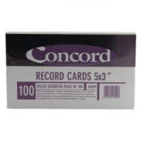 Image for Concord Record Card 5x3in Assorted Pk100