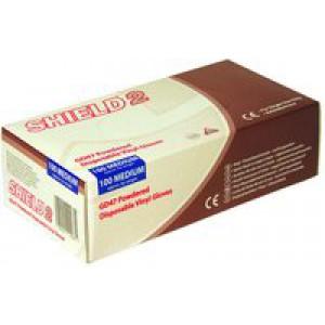Shield Polypropylene Vinyl Gloves Medium Pack of 100 Clear GD47