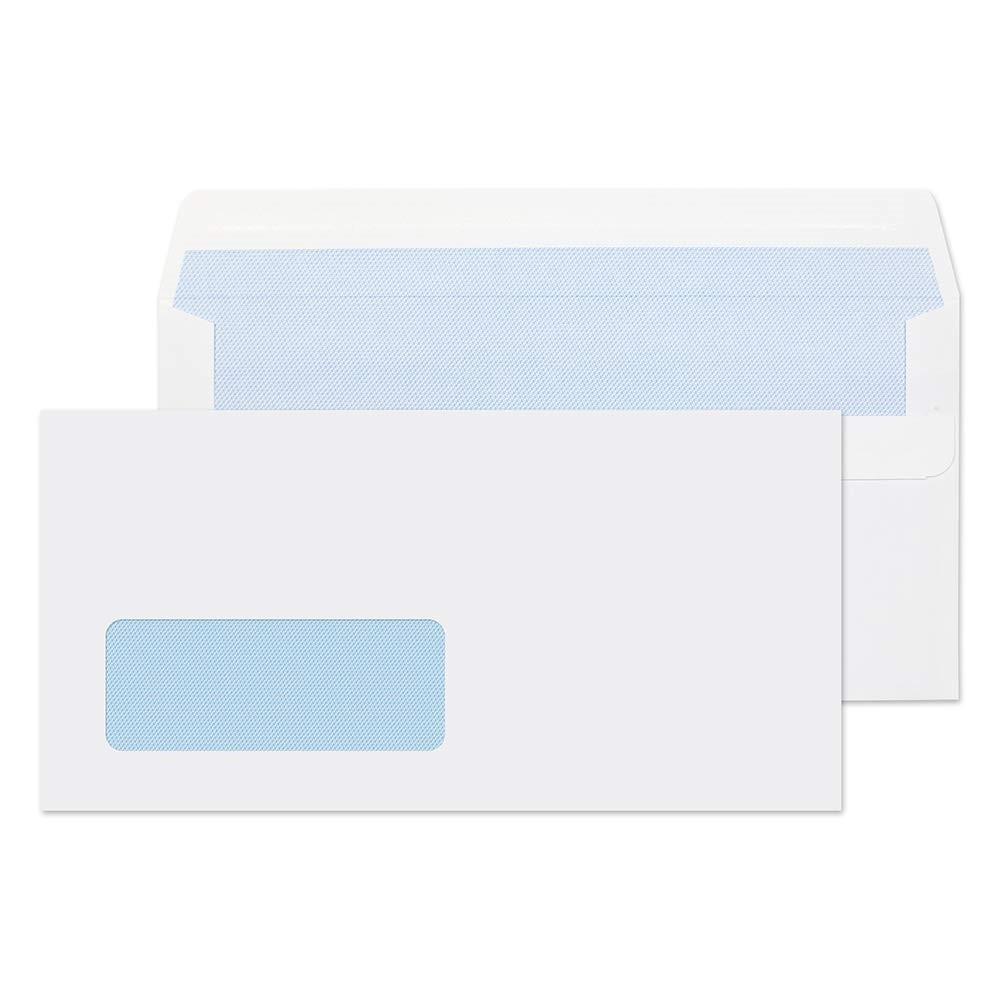 Glenwove White Envelopes DL Window Self Seal 110x220mm Packed 500