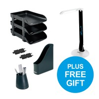 Bundle Offer Buy 3 Rexel Letter trays + 2 risers + magazine rack + pen cup and get a Rexel daylight lamp FREE.
