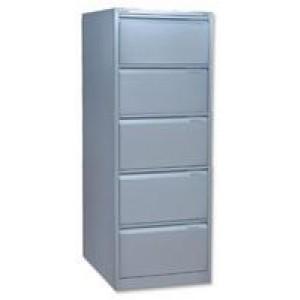 Bisley 5 Drawer Filing Cabinet Lockable Goose Grey Flush Fronted BS5E
