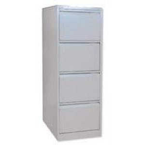 Bisley 4 Drawer Filing Cabinet Lockable Goose Grey Flush Fronted BS4E